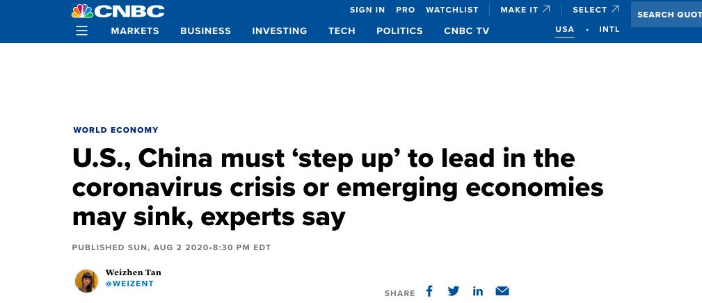 美媒:中美合作或为推动全球经济复苏的重要推手